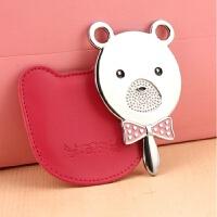 韩版化妆镜小镜子小熊便携式可爱 随身化妆镜田园公主 熊仔头美妆镜
