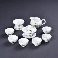 【新品】薄胎盖碗功夫茶具茶杯套装陶瓷白瓷整套青花瓷盖碗茶具礼盒包装