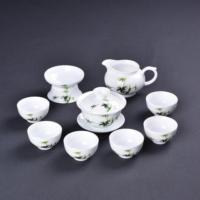 【新品】薄胎盖碗功夫茶具茶杯套装陶瓷白瓷整套青花瓷盖碗茶具礼盒包装 礼盒装薄胎青花