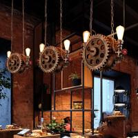 北欧创意餐厅吧台齿轮吊灯美式复古过道楼梯走廊玄关两头艺术灯具 齿轮吊灯+2头灯泡