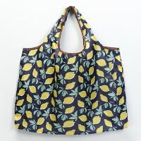 日系可爱卡通折叠便携环保袋手提袋牛津布大容量收纳袋购物袋 深蓝色 柠檬 横向大号