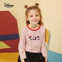 【4折�A估�r:45.2元】迪士尼女童�L袖T恤2021春�b新款童�b洋��r尚卡通�和�����上衣