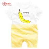 0-1岁婴儿夏季连体衣婴儿短袖连体衣棉宝宝夏装睡衣服哈衣