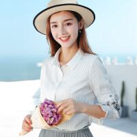 芊艺衬衫女设计感小众2019秋季新款韩版条纹长袖刺绣衬衣复古宽松上衣