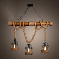 美式乡村麻绳吊灯复古吧台三头吊灯个性铁艺灯罩吊灯餐厅酒吧灯 麻绳3头吊灯