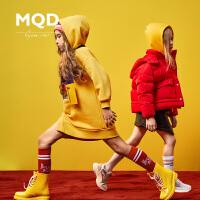 【1件3折:180】MQD女童中长款加绒加厚卫衣2019冬装新款洋气连帽韩版保暖连衣裙