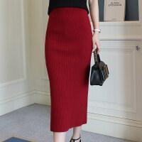针织半身裙女中长款大码秋冬新款毛线裙开叉包臀裙一步裙高腰长裙
