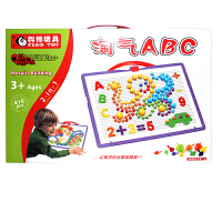 科博 儿童早教益智玩具 拼插建构玩具 智力开发玩具  礼物 Q版蘑菇钉淘气ABC410件