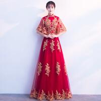 新娘敬酒服2018新款秋冬季红色结婚旗袍婚礼长款显瘦答谢宴礼服女