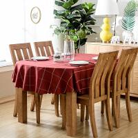 欧式餐桌布艺红格子桌布长方形防水茶几台布西餐咖啡厅椭圆形家用