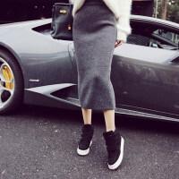 孕妇半身裙2018孕妇装半身裙秋冬季中长款针织开叉裙包臀一步裙加厚毛线裙MYZQ93 灰色 均码