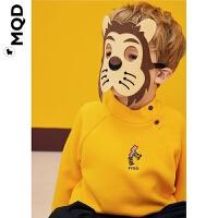 MQD童装儿童加厚卫衣2019冬新款半高领男宝宝内搭加绒插肩袖卫衣