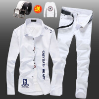 春秋季男士韩版长袖衬衫牛仔长裤套装潮流修身寸衫休闲衬衣服外套