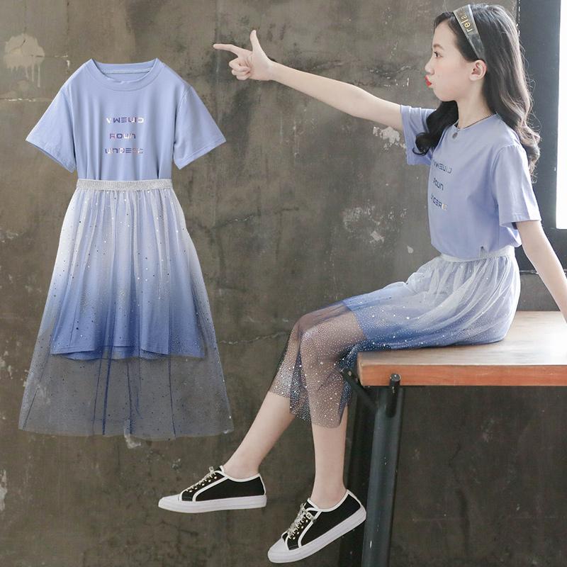 女童连衣裙夏装儿童装洋气套装裙夏季裙子大童公主裙夏款