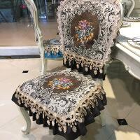 新品欧式餐椅垫套装餐桌布凳子套罩家用椅套坐垫防滑四季通用定做 锦绣 咖