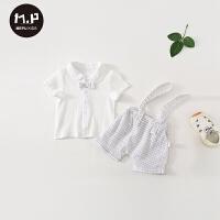 男女宝宝短袖背带套装外出服夏季短裤婴儿衣服夏装薄款两件套
