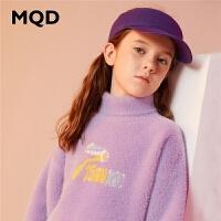 MQD童装女童加厚毛衣仿貂绒2019冬季新款儿童高领洋气保暖针织衫