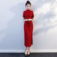 新娘敬酒服旗袍2018秋冬季长款红色结婚礼服回门中式显瘦连衣裙女