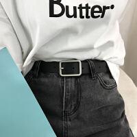青年学生韩版皮带uzzlang长方形银扣chic复古简约女士宽腰带PU皮