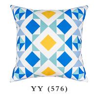 蓝黄清新夏日风北欧抱枕方形现代简约靠枕腰靠垫床上枕头