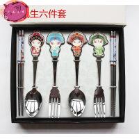 国粹脸谱京剧人物 不锈钢叉勺筷餐具套装 特色中国风纪念品送老外