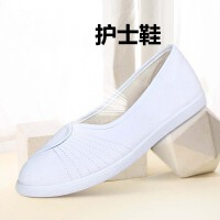 护理鞋透气白色平底一字护士鞋手绘绣花鞋小白鞋女鞋美容师工作鞋