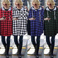 欧洲站2015秋冬新款胖大码女装修身中长款格子连帽开衫上衣外套