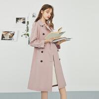 【裸价直降】ONE MORE2020春装新款后背装饰风衣女韩版时尚粉色中长款外套冬