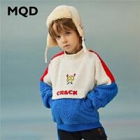 【折后券后�A估�r:136】MQD童�b男童立�I�l衣2020冬�b新款�D案加厚�和�仿羊羔�q保暖上衣