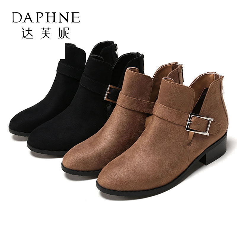 【4.7达芙妮大牌日 限时2件2折】Daphne/达芙妮杜拉拉粗跟短靴女金属扣饰中跟靴子女1717505084