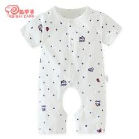 婴儿短袖连体衣服棉男3个月婴儿女宝夏装睡衣哈衣薄款连体衣