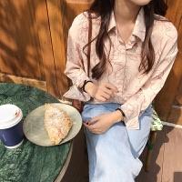 春款衬衫女设计感小众韩版宽松抽象印花长袖衬衣基础百搭休闲上衣