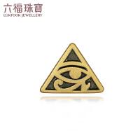 六福珠宝荷鲁斯之眼黄金耳钉男女款电黑金单只定价HGA1TBE0002