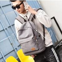 男包学生书包时尚潮流双肩包男士休闲包帆布包旅行包背包电脑包大学生书包