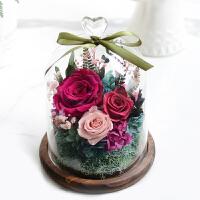 康乃馨永生花厄瓜多尔玫瑰复古玻璃罩礼盒生日结婚礼物 玫红色 时间慢-复古玫色