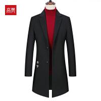 【限时1件3折到手价:399元】高梵2019秋冬新款羊毛外套纯色西装领中长款双面呢大衣男青年
