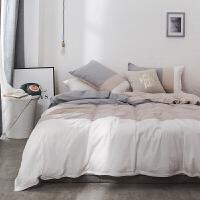 日式简约水洗棉小清新床单四件套全棉被套1.8m床笠床上用品定制 1.8m床适用(被套220*240cm) 床单款
