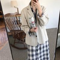 春季韩国学院风复古格子连衣裙+V领宽松背心毛衣+小西装三件套女