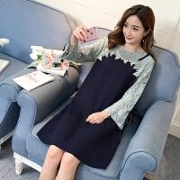 孕妇秋装上衣2018新款蕾丝拼接连衣裙秋季长袖韩版时尚款孕妇装潮