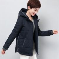 中年女士棉衣冬季新款保暖棉袄外套妈妈装宽松短款休闲女大码 藏青色 XL90-110斤