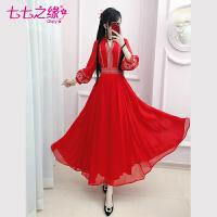七七之缘民族风连衣裙2020春秋新款红色绣花灯笼袖七分袖复古长裙