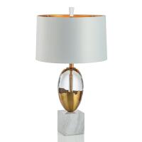 美式创意大理石底座水晶台灯欧式复古轻奢别墅样板间售楼处台灯 金色