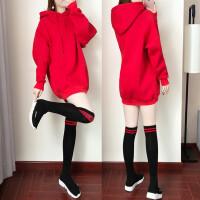 红色卫衣裙子少女装韩版2018早秋装新款秋冬季学生连衣裙长袖气质