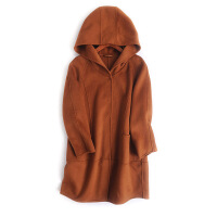 美丽诺连帽纯色双面呢大衣 纯色毛呢外套女 中长款 冬新款