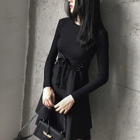 早秋冷系女装针织长袖连衣裙冬气质中长款收腰打底小黑裙子潮 黑色