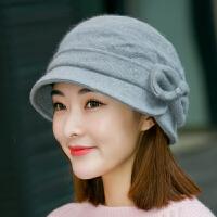 渔夫帽子女士秋冬天蝴蝶结盆帽羊毛兔毛混纺针织毛线帽保暖贝雷帽