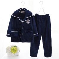 春秋季双面绒儿童睡衣女孩男孩小孩宝宝法兰绒男童家居服套装