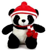 凯弘 可爱熊猫公仔 戴红帽围巾 坐姿布娃娃卡通毛绒玩具
