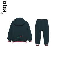 MQD童装男童连帽套装加绒保暖2019秋冬款宝宝墨绿色小恐龙两件套