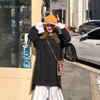 秋冬女装韩版气质中长款不规则裙子拼接喇叭袖连衣裙+吊带打底裙 均码